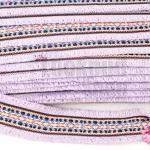 ผ้าแถบลายชนเผ่า สีม่วงอ่อน กว้าง 4.5ซม(1หลา/90ซม)