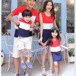 ชุดเซตพ่อแม่ลูกสาว ชายเสื้อยืด+ หญิงเดรสแขนกุด+เด็กหญิงเดรสแขนกุด แต่งลายแถบสีแดงขาวกรม +พร้อมส่ง+