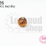 ลูกปัดกังไสทิเบต สีแดงอมส้ม 12X11มิล(1ชิ้น)