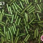 ลูกปัดจีน ปล้องยาว สีเขียวตอง 2X8มิล(1ถุง/450กรัม)