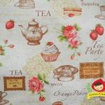 ผ้าคอตตอนลินิน ญี่ปุ่น รุ่น Vintage Collage ลายชุดน้ำชาและของว่าง สีขาวสไตล์วินเทจ สวยมากค่ะ