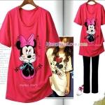 เสื้อคลุมท้องแขนสั้น ลายมินนี่ เม้าส์ (Minnie Mouse) : สีแดงอ่อน รหัส SH124