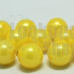 ลูกปัดมุก พลาสติก สีเหลือง 12มิล 1 ขีด (118ชิ้น)