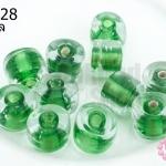 ลูกปัดแก้ว ทรงกระบอก สีเขียวสอดไส้ (ใส) 10มิล(1ขีด/100กรัม)