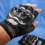 ถุงมือมอเตอร์ไซค์หนัง แบบครึ่งมือ PRO-BIKER ดำ