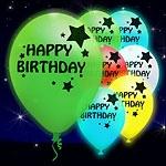 ลูกโป่ง LED พิมพ์ลาย Happy Birthday คละสี แพ็ค 5 ชิ้น ไฟสลับสี (LED Balloon Happy Birthday Mixed Color - LED RGB)