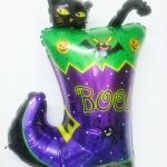 ลูกโป่งฟลอย์ Happy Halloween รองเท้าบู๊ตเหมียวน้อย - Happy Halloween Kitty Boots Foil Balloon / Item No.TL-A106
