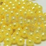 ลูกปัดมุก พลาสติก สีเหลือง 4มิล 1 ขีด (3,553ชิ้น)