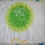 ***ปลอกหมอนขิด ลายดอกไม้สีเขียว พื้นขาว  จัดชุด 2 ใบ 140