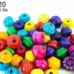 ลูกปัดไม้ จานบิน คละสี 7X5มิล (1,260เม็ด) 1 ขีด