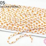 เชือกถักเปีย สีส้ม-ขาว กว้าง 5มิล(1หลา/90ซม.)