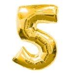 """ลูกโป่งฟอยล์รูปตัวเลข 5 สีทอง ไซส์เล็ก 14 นิ้ว - Number 5 Shape Foil Balloon Size 14"""" Gold Color"""