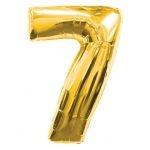 """ลูกโป่งฟอยล์รูปตัวเลข 7 สีทอง ไซส์เล็ก 14 นิ้ว - Number 7 Shape Foil Balloon Size 14"""" Gold Color"""