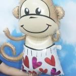 ลูกโป่งฟลอย์ ลิงน้อยใส่บ็อกเซอร์ลายหัวใจ ไซส์ใหญ่ - Monkey heart pants / Item No.TL-A133