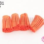 พู่หนังชามุด สีส้ม 3.5ซม (4ชิ้น)