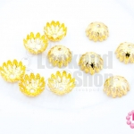 ฝาครอบลายดอก สีทอง 8มิล (10ชิ้น)