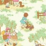 ผ้าฝ้ายญี่ปุ่นลาย เด็กผู้หญิง Petite Marianne โทนครีม-เขียวอ่อน น่ารักมากค่ะ ผ้าเนื้อดีสีสวย คอตตอน 100%