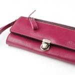 *พร้อมส่ง*กระเป๋าเงินใบยาว MUSE สีชมพูสด งานหนังแท้