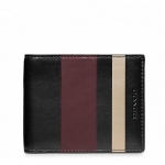 กระเป๋าสตางค์ผู้ชาย COACH bleecker legacy debossed painted stripe slim billfold