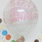 """ลูกโป่งกลมใสพิมพ์ลาย It's A Girl สีชมพู แพ็คละ 10 ใบ(Round Balloons 12"""" - Clear Printing It's A Girl Pink color)"""