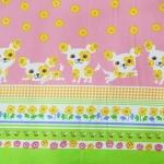 ผ้าคอตตอนลินิน ญี่ปุ่น ลายน้องหมา ชิวาวา สีสดใสน่ารัก เนื้อหนานิ่ม