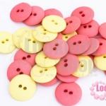 กระดุมพลาสติก สีเหลือง-ชมพู 15มิล(1ขีด/314ชิ้น)