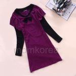MS187 เสื้อคลุมท้อง โทนสีม่วง ด้านหน้าแต่งด้วยโบว์สีดำ มีแขนยาวสีดำ ติดกับตัวเสื้อดูเก๋อีกแบบค่ะ