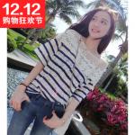 เสื้อแฟชั้นเกาหลี เย็บตกแต่งช่วงไหล่ด้วยตะข่ายและลูกไม้สีขาว ตัวเสื้อเนื้อผ้าลูกไม้ทึบ สีน้ำเงินขาว