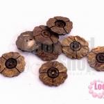 กระดุมกะลา ดอกไม้ด้าน 2รู 24มิล (100ชิ้น)