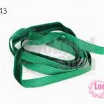 เชือกผ้า ริบบิ้นกำมะยี่ สีเขียวเข้ม (1เส้น/1หลา)