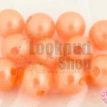 ลูกปัดมุก พลาสติก สีส้มพีช 12มิล (1ขีด/100กรัม)