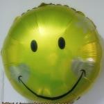 ลูกโป่งฟลอย์ทรงกลม หน้ายิ้มสีเหลืองทอง ไซส์ 18 นิ้ว - Gold Round Shape Smiley Face Foil Balloon / Item No. TL-F005