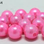 ลูกปัดมุก พลาสติก สีชมพู 12มิล 1 ขีด (118ชิ้น)