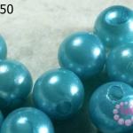 ลูกปัดมุก พลาสติก สีฟ้า 16 มิล (1ขีด/100กรัม)