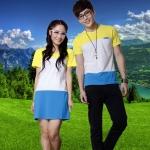 ชุดคู่รัก เสื้อคู่รัก ชายเสื้อยืด + หญิงเดรส แต่งลายเหลืองขาวน้ำเงิน +พร้อมส่ง+