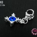 ตัวแต่งโรเดียม ชุบเงินลายดอกไม้เกสรเกสรสีน้ำเงิน 5x22 มิล (1ชิ้น)