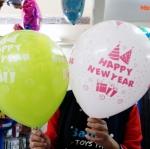 """ลูกโป่งกลมพิมพ์ลาย Happy New Year ไซส์ 12 นิ้ว แพ็คละ 4 ใบ (Round Balloons 12"""" - Happy New Year Printing latex balloons)"""