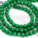 คริสตัลจีน ทรงกลมเจียร สีเขียวเข้มขุ่น 4มิล(1เส้น)