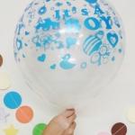 """ลูกโป่งกลมใสพิมพ์ลาย It's A Boy สีฟ้า แพ็คละ 10 ใบ(Round Balloons 12"""" - Clear Printing It's A Boy Blue color)"""