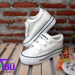 รองเท้าผ้าใบแฟชั่นเกาหลี เสริมส้น สีขาว รุ่นH006