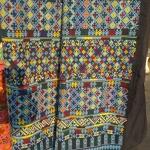 กางเกงผ้าปักอิวเมี่ยน ลายปักโบราณ+ประยุกต์ โทนสีฟ้าสดใส