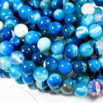 หินอาเกตดวงตา สีฟ้า 8 มิล ยาว 35 ซม มี 43 เม็ด (จีน)