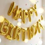 ลูกโป่งฟลอย์ข้อความ Happy Birthday สีทอง ติดกำแพง / Item No.TL-H007