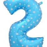 """ลูกโป่งฟอยล์รูปตัวเลข 2 สีฟ้าพิมพ์ลายดาว ไซส์จัมโบ้ 40 นิ้ว - Number 2 Shape Foil Balloon Size 40"""" Blue Color printing Star"""