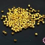 ลูกปัดโลหะ สีทอง กลม 2.5มิล (1ขีด)