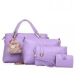 กระเป๋าแฟชั่นเกาหลี พร้อมส่ง สีม่วง รหัส NM447-6 SET 4 ใบ มีตุ๊กตาหมี สวยมากค่ะ