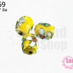 ลูกปัดกังไส สีเหลือง ทรงรี 9x7 มิล (1ชิ้น)