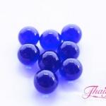 ลูกปัดแก้วมูราโน่ ไม่มีรู ทรงกลม สีน้ำเงินใส 10 มิล(1ชิ้น)