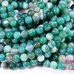 หินอาเกตดวงตา สีเขียว 8 มิล ยาว 35 ซม. (จีน)