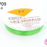 เอ็นยืด แบบกลม สีเขียวอ่อน เบอร์ 0.8 (1ม้วน/10 หลา)